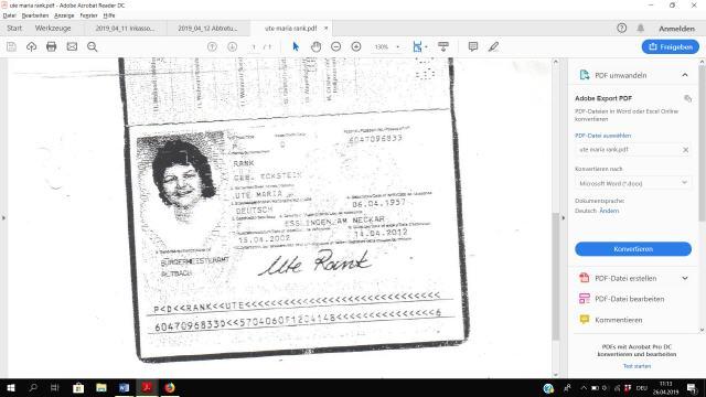 Ausweis von Ute Maria Rank - gesuchte Schuldnerin